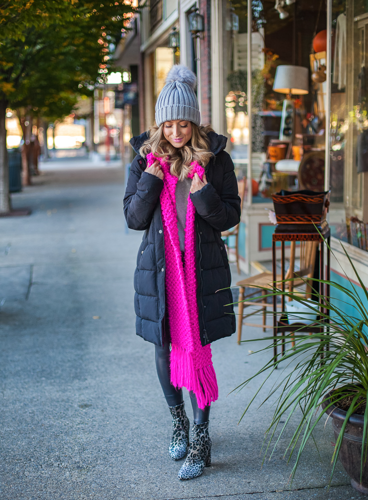 express hot pink chunky fringe oblong scarf