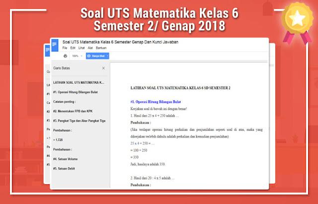 Soal UTS Matematika Kelas 6 Semester 2