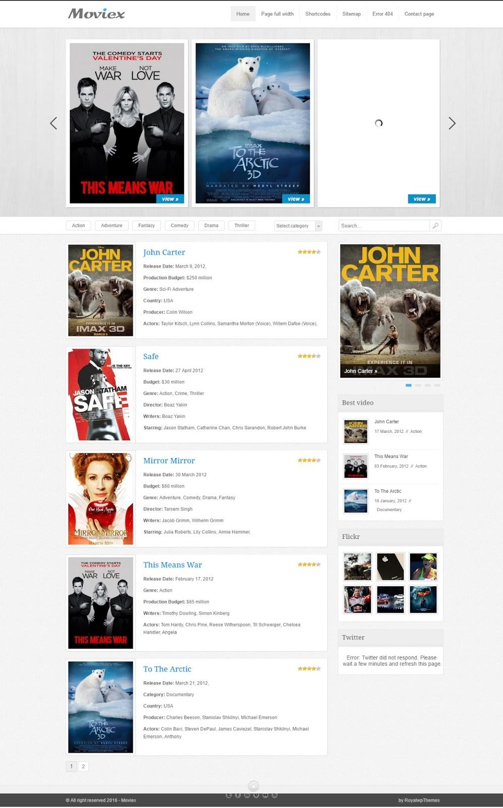 Moviex-wordpress flat video blog theme