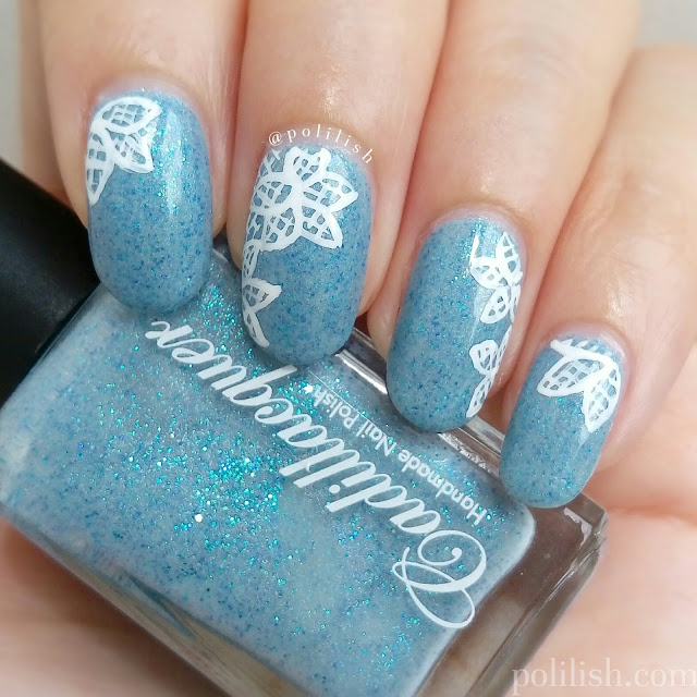 Freehand floral lace nail art featuring Cadillacquer Rán | polilish