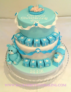 2 tier trains and teddy christening cake