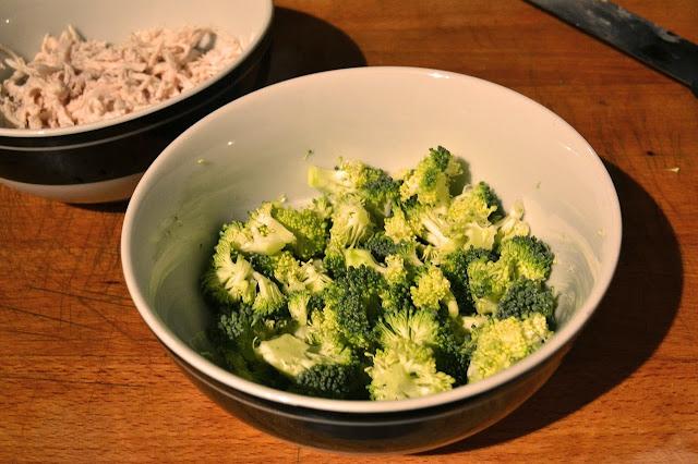 Bowl of cut up broccoli