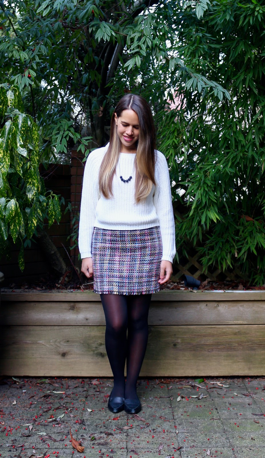 Jules in Flats - Tweed Skirt + Knit Sweater for Work (Business Casual Winter Workwear on a Budget)