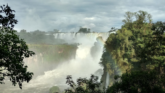 first sighting of Iguazu Falls from afar