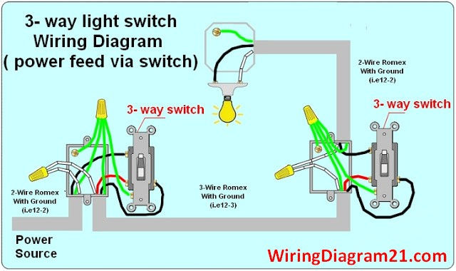 3 Way Switch Wiring Diagram | House Electrical Wiring Diagram