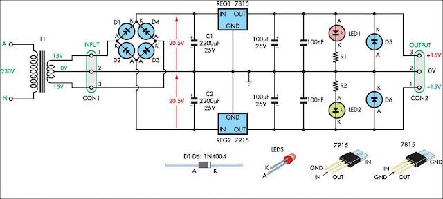 الدائرة الالكترونية لمصدر تغذية بجهد مستمر -15 و+15 فولت