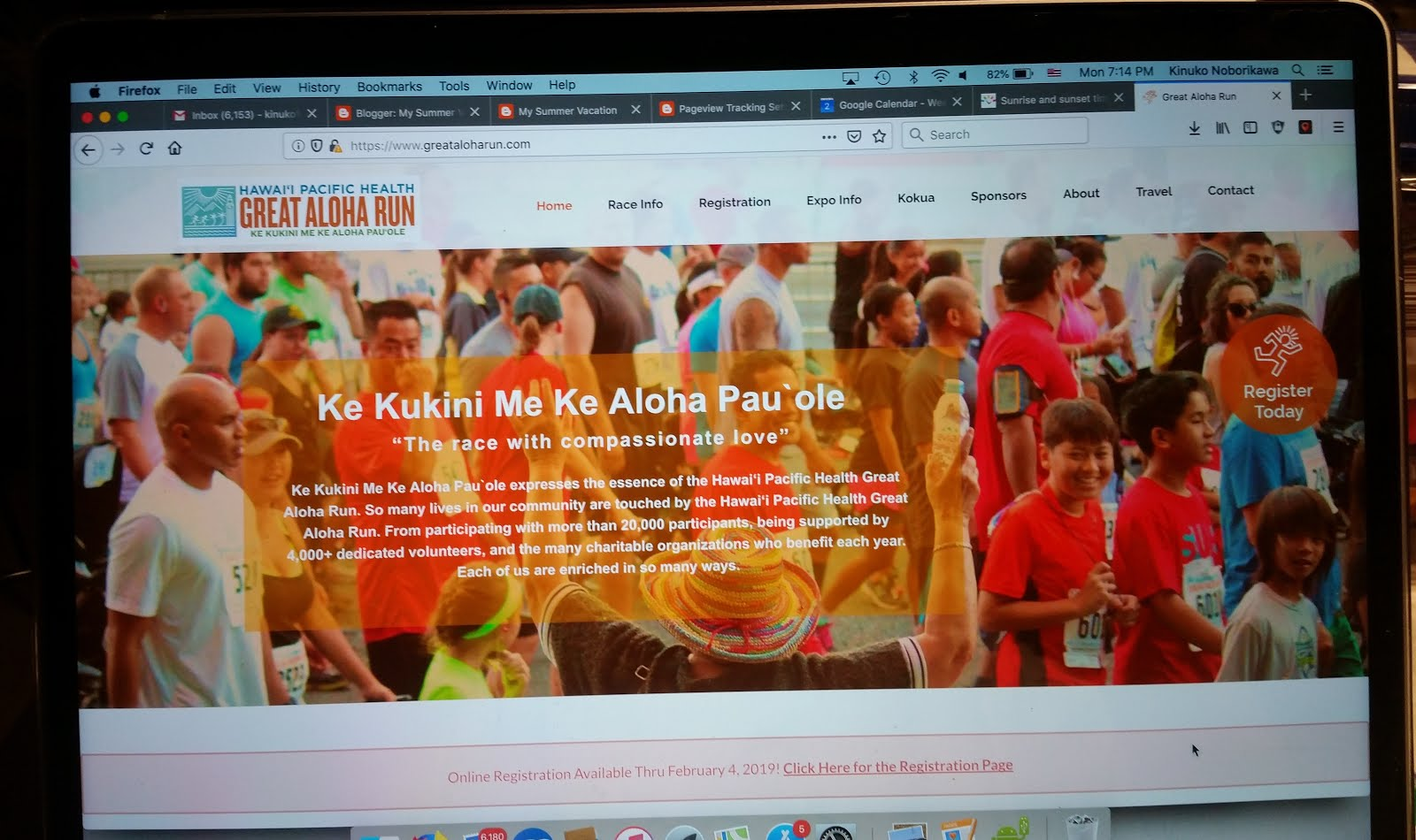 a2afbdb3c Screen shot from Great Aloha Run website.