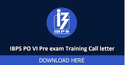 IBPS PO-VI Pre-exam Training Call Letter Download