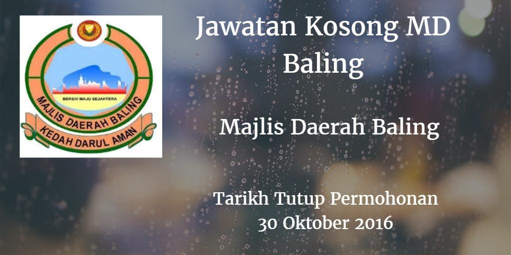 Jawatan Kosong MD Baling 30 Oktober 2016