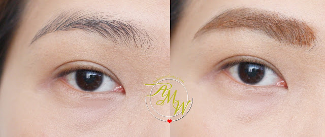 a before and after photo of CLIO Tinted Tattoo Kill Brow Soft Brown