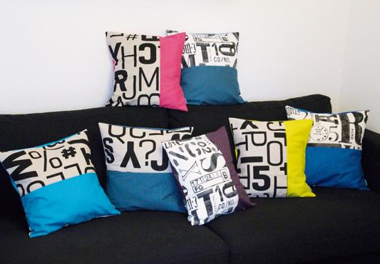 binedoro Blog, nähen, Kissen, Shop, Typografie
