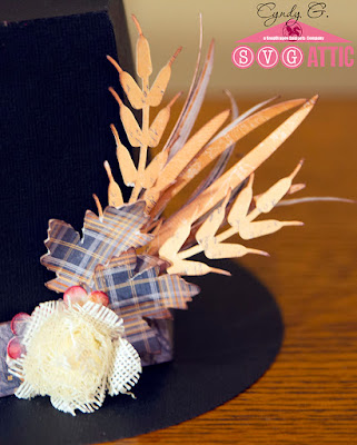 Close up of wheat and flower embellishments