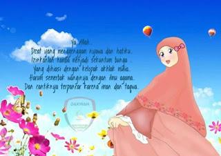 kartun animasi muslimah imut dengan bunga