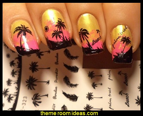 Black Feather Nail Water Decals Coconut Tree Transfer Stickers Nail Art Sticker Tattoo Decals