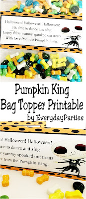 It's Halloween and time to celebrate and sing with Jack Skellington, the Pumpkin King. Print out this fun and unique bag topper, add some Halloween treats, and celebrate the arrival of Halloween in all it's spooky fun.