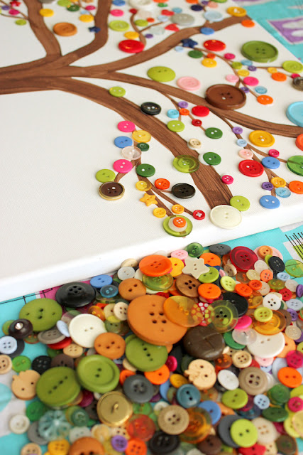 Close up or branches and Button Art Tree