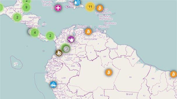 Coinmap en Venezuela si se acepta Bitcoin