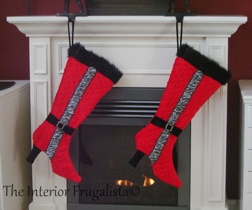 DIY Stiletto Boot Stockings with zebra print ribbon