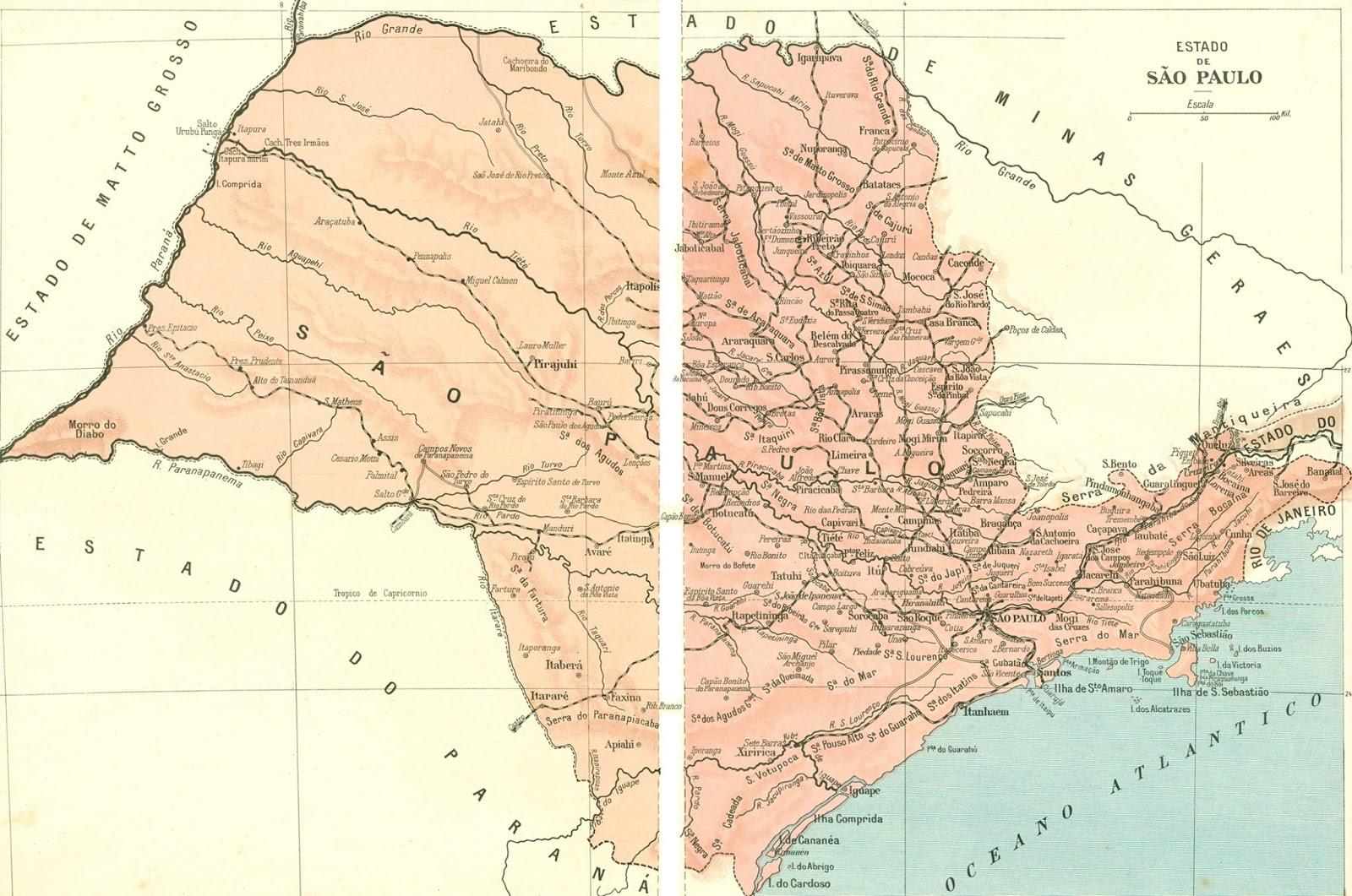 Mapa Antigo do Estado de São Paulo