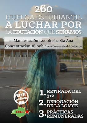 Cartel anunciador de la huelga de estudiantes,  con manifestación y concentración en Las Palmas de Gran Canaria el próximo 26 de octubre
