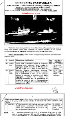 Indian Coast Guard Assistant Commandant Officers Recruitment (Men & Women) 2017- 2018