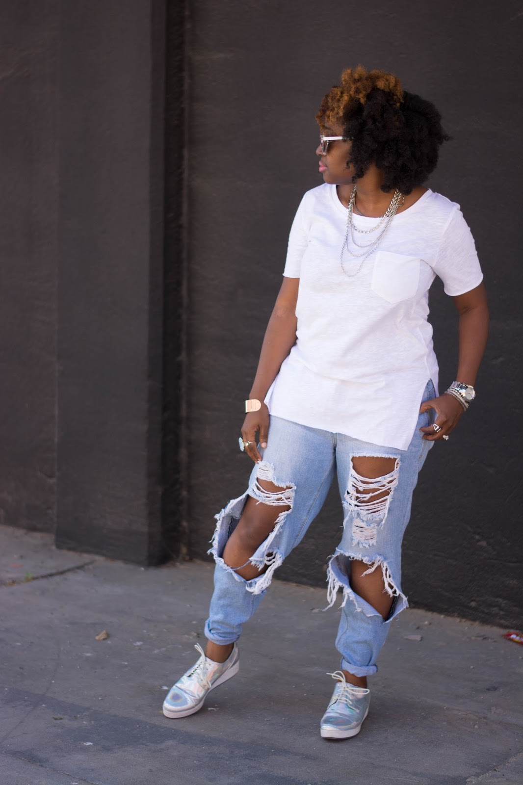 Atlanta Style Blogger, Style blogger, Atlanta stylist, black blogger, black girls rock, Atlanta street style, distressed jeans, white t, monki, iridescent platforms, silver accessories, natural hair fashion, Atlanta fashion, black and killing it, Black style blogger, brown girls, Atlanta fashion, curvy girls, plus size fashion, what to wear on Saturday, Friday fashion
