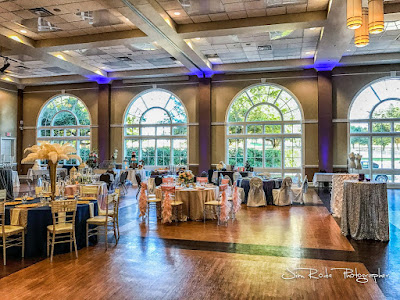 grand hall at the Colleyville Center with floor to ceiling windows