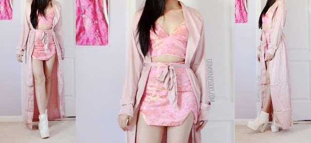 Light pastel pink silky satin longline maxi duster coat from SheIn, worn with the pink Qianru oriental silk bralet and skirt from O-Mighty.