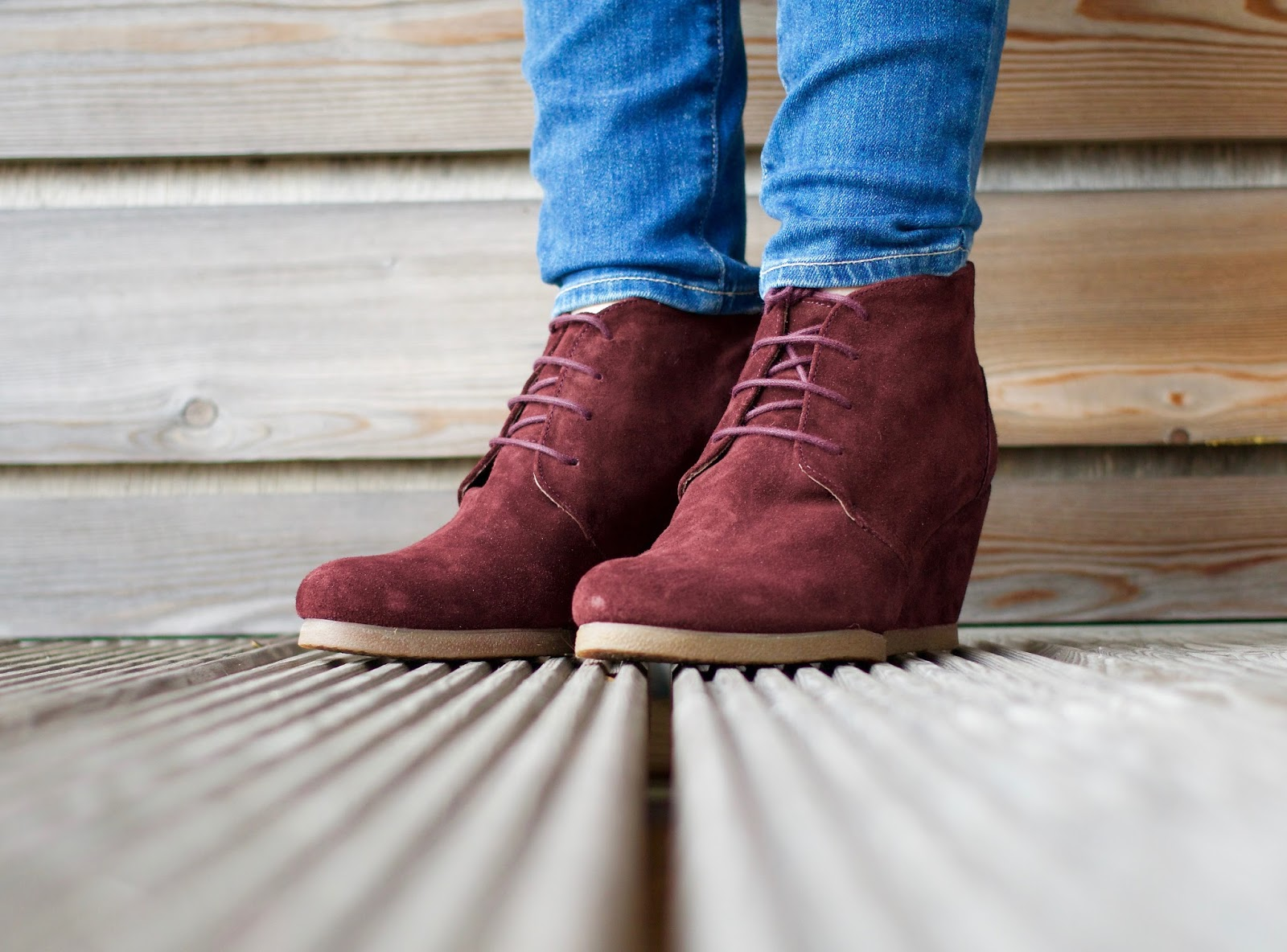 Autumnal wardrobe-Dune Petworth burgundy suede wedge lace up ankle boots