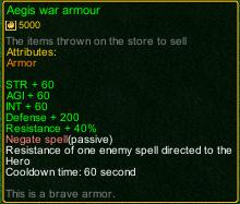 naruto castle defense 6.0 Item Aegis war armour detail