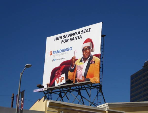 saving seat for Santa Fandango Miles Mouvay billboard
