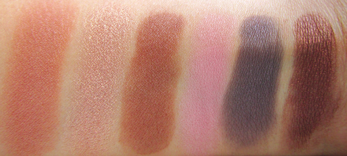 Swatches: I Heart Chocolate Eyeshadow Palette - Thank Friday - More! - Pleasure Girl - Meet Chocolate - Unforgivable - Love Divine