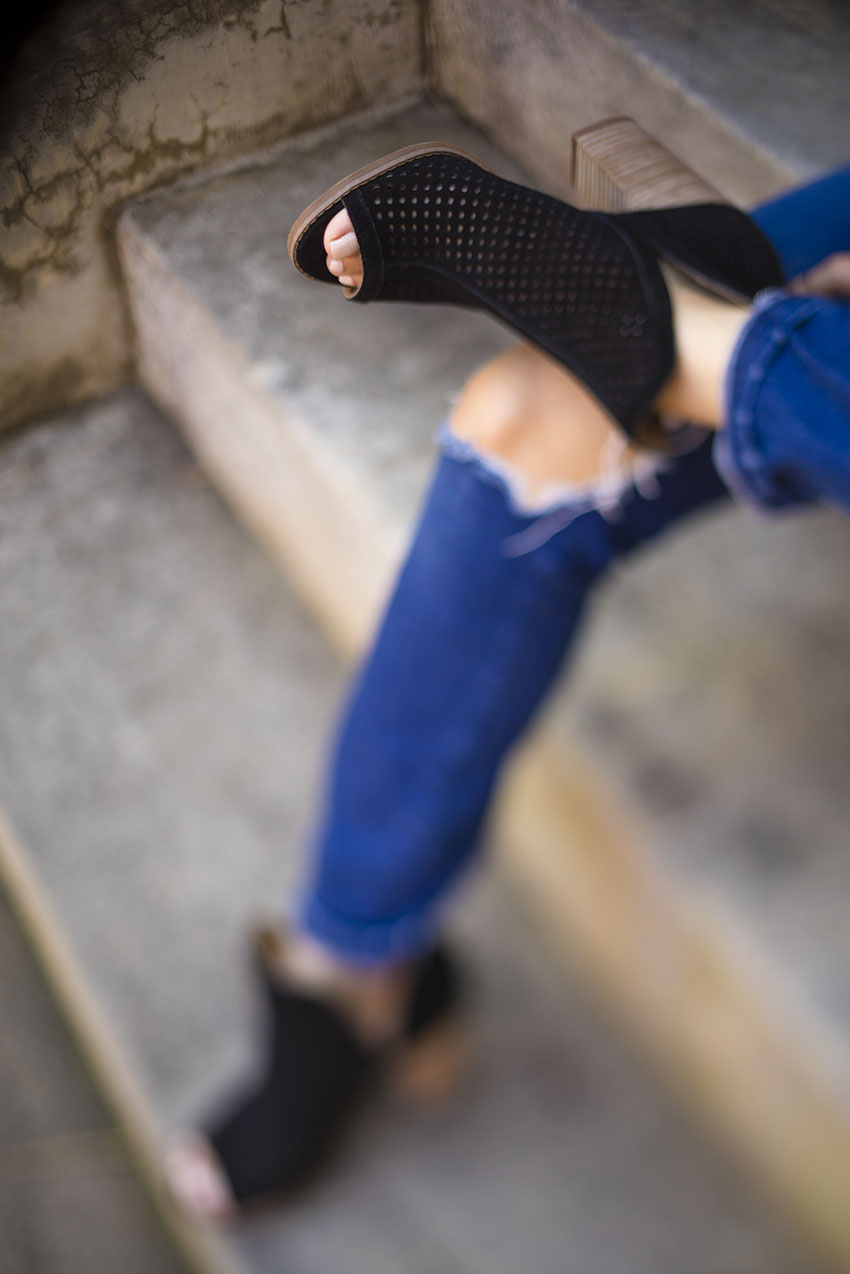 lucky brand larise peep toe booties, the best booties for fall, comfortable booties for fall