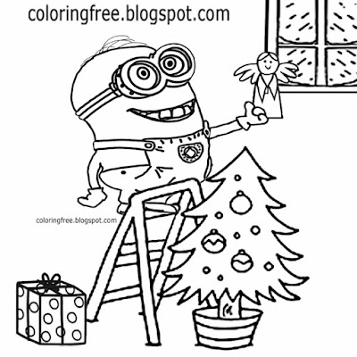 Funny Minions printable coloring book merry Christmas tree top decorating cute holy angle ornament
