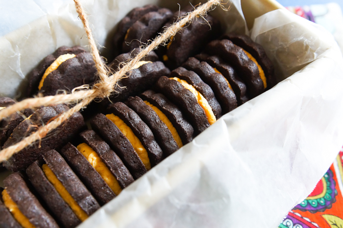 Spiced Chocolate Sandwich Cookies with Pumpkin Cream Filling