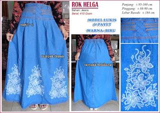 Rok jeans panjang model payet - helga biru