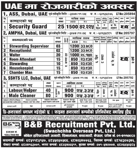 Jobs in Dubai for Nepali, Salary Rs 42,225