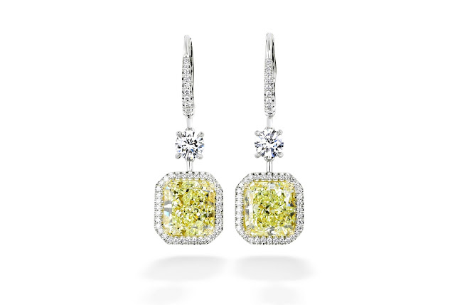 Forevermark by Premier Gem The Center of My Universe Fancy Yellow Diamond Drop Earrings set in 18k White Gold 10.05 ctw