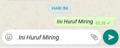 huruf miring whatsapp