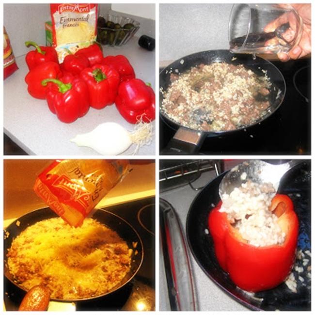 Pimientos rellenos con arroz y carne