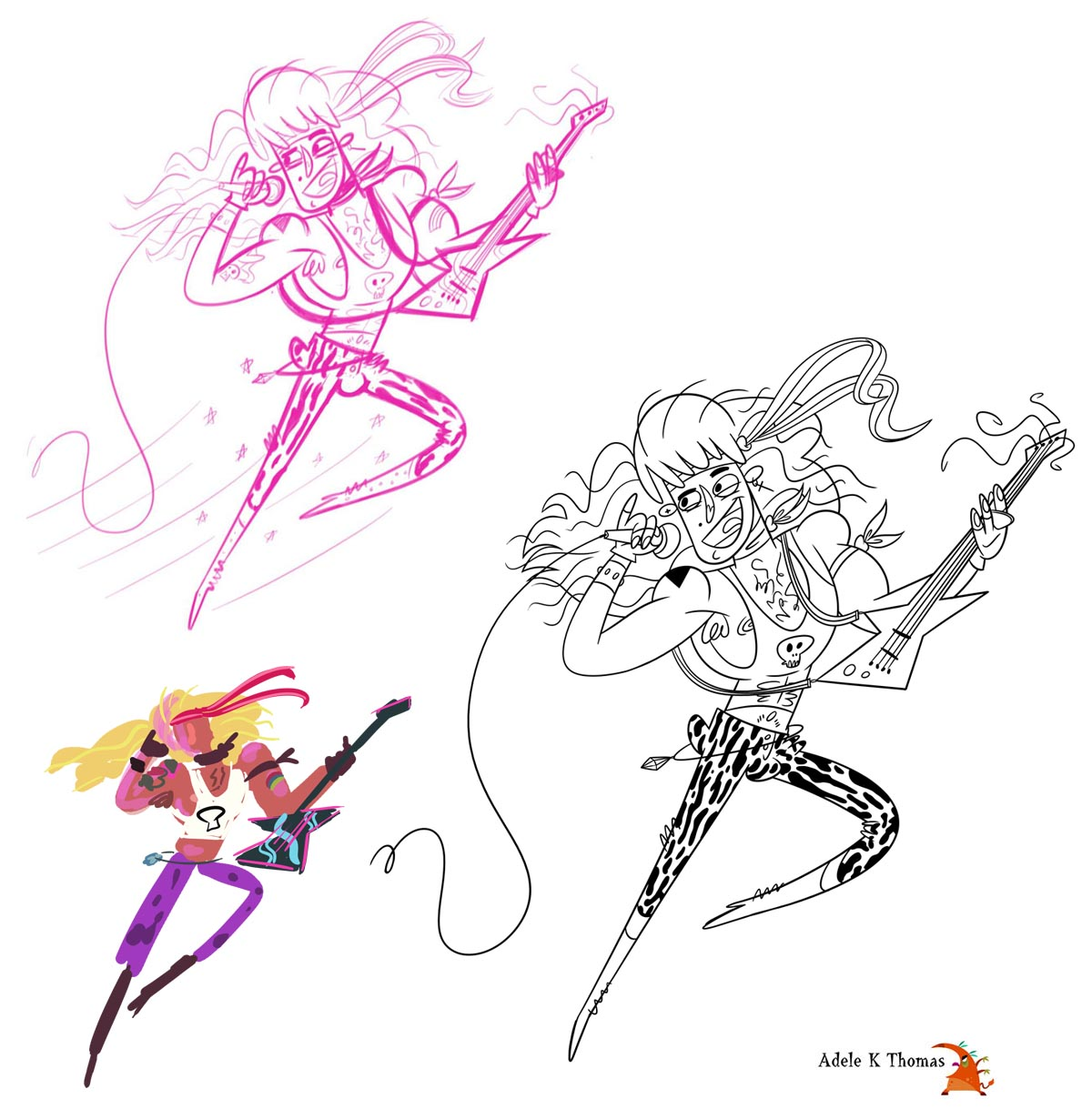 Character Design Daily Challenge : Adele k thomas daily scribbles heavy metal glam