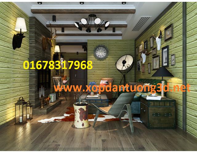xốp dán tường 3D giả gỗ kích thước 70x60x1cm