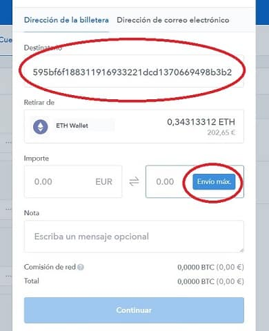 enviar ethereum a binance