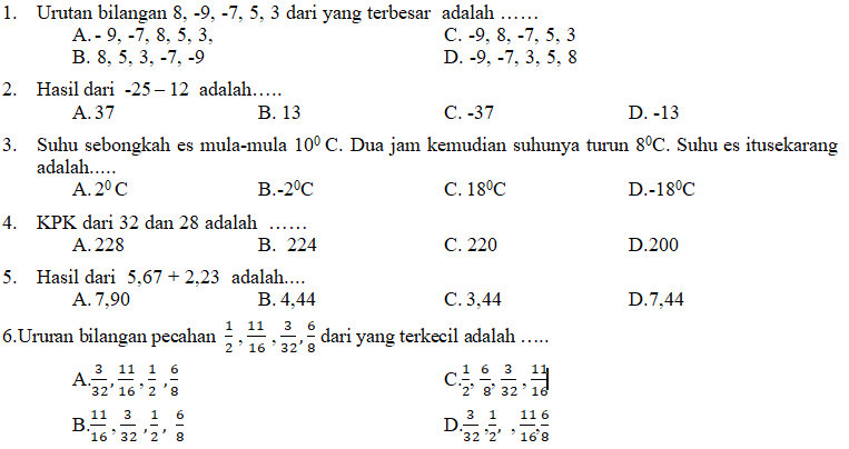 Kisi Kisi Soal Dan Kunci Jawaban Matematika Smp Kelas 7 Pas Semester Ganjil Didno76 Com