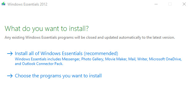 Installation of windows live essential