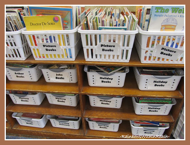 photo of: Classroom Library Organization into Bins by Topic