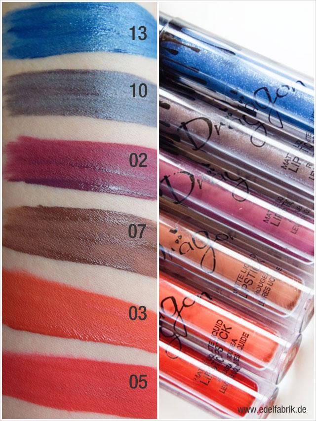 Die dunklen Töne der Kylie Jenner Lipstick Dupes von amazon mit Swatches