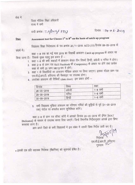 Monthly test, Half yearly test date sheet 1st to 8th & 9th