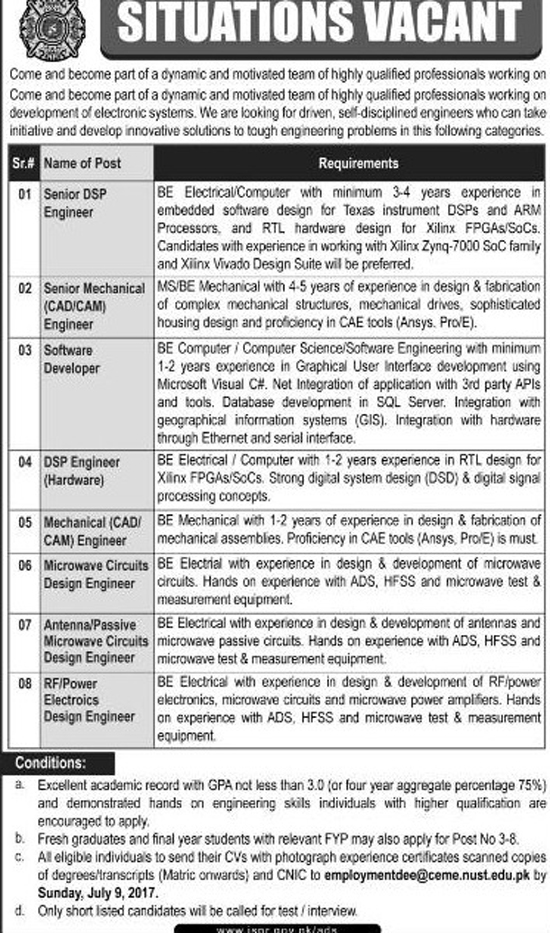 ISPR Jobs In Inter Services Public Relations Islamabad July 2017