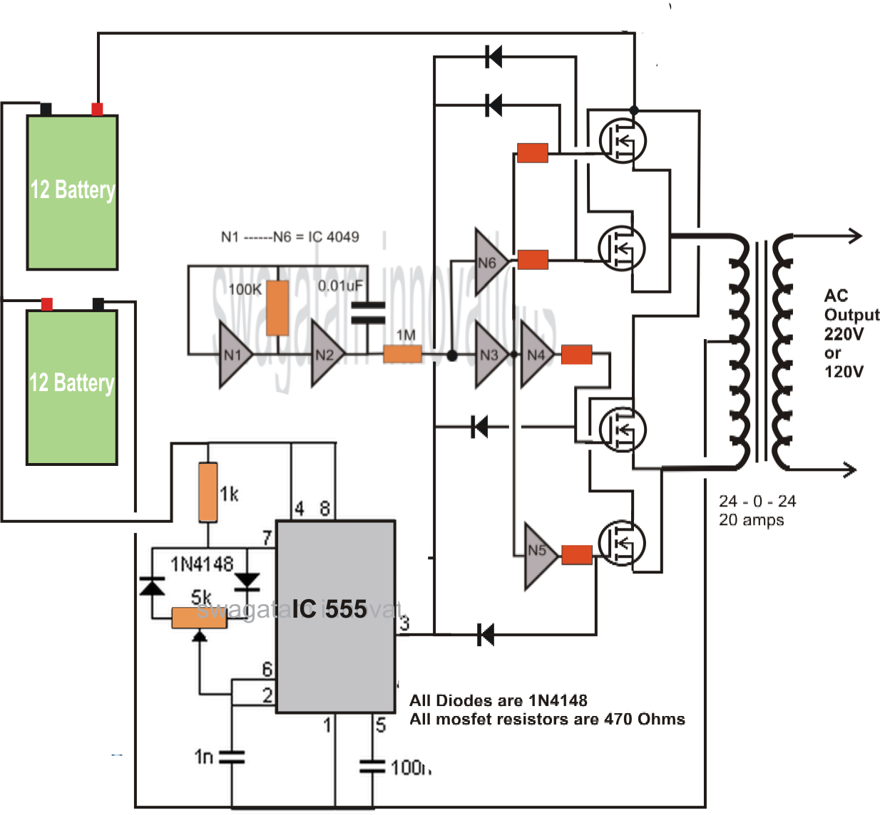pv inverter wiring diagram vauxhall astra convertible transformerless dc to ac schematic
